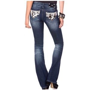 Miss Me signature boot cut cow hide jeans